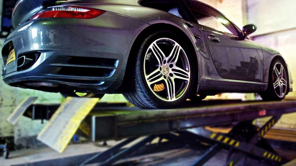 Porsche 997 undergoing a service and diagnostic checks
