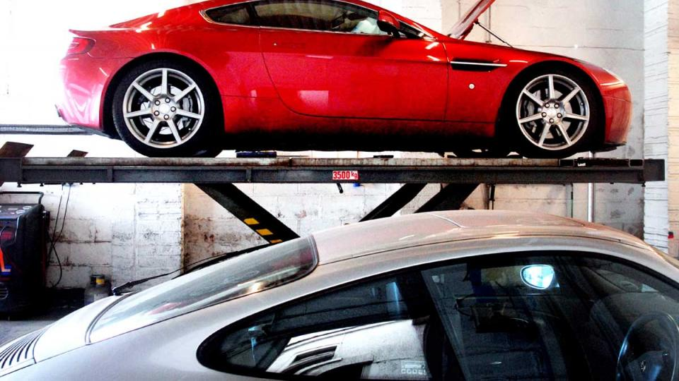 Aston Martin Vantage V8 visits Devon for service and repair at specialist
