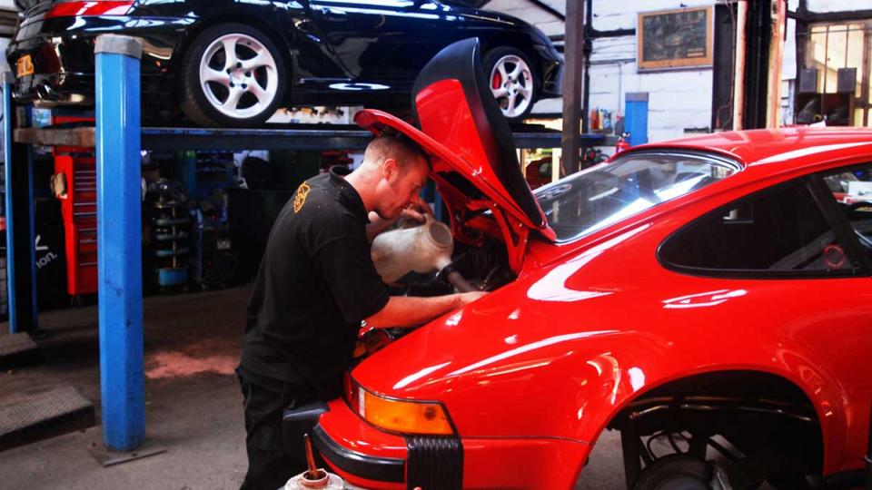 routine service for the Porsche 911 at Braunton Engineering