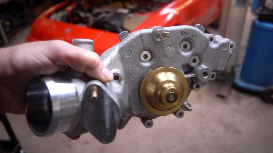 Porsche 944 water pump ready for fitting at cambelt renewal