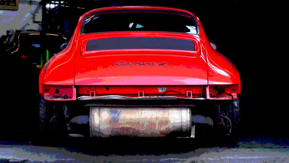 964 Porsche in the garage for bodywork repair