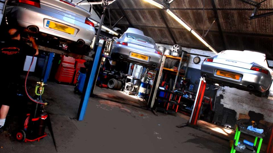 3x silver Porsche 996 nine eleven's visit for repair & service