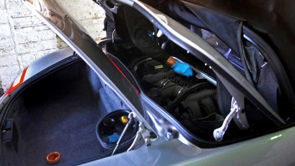 Boxster hood moved to service position