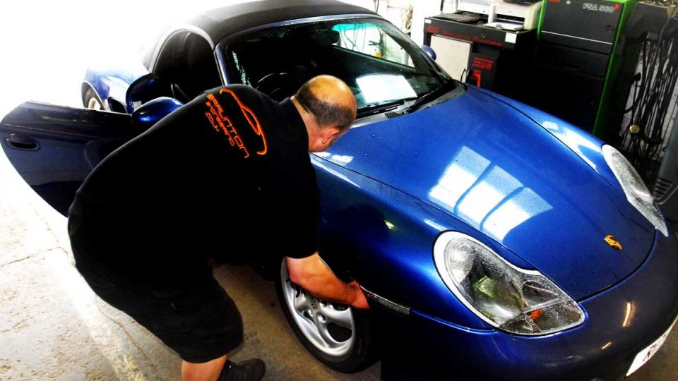 Inspection of the Boxster at MOT test