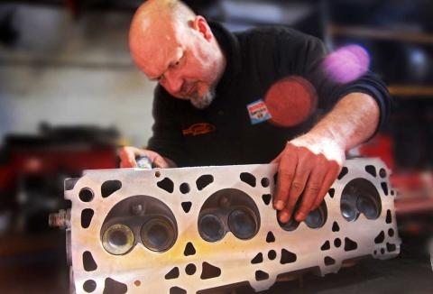 928 head preparation work for Porsche 928 engine rebuild