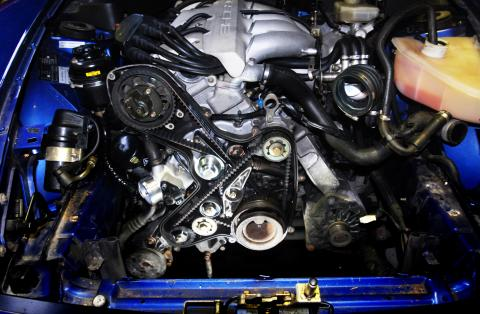 Camshaft and balance shaft belt renewal with water pump and rollers
