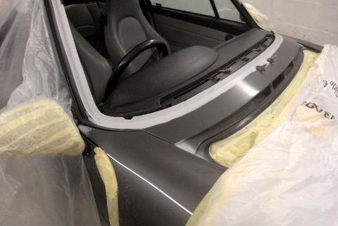 993 Porsche windscreen frame corrosion repair & refurbishment