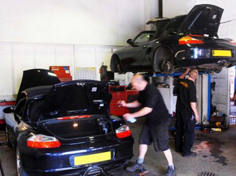 Boxster water pump water leak repair by Porsche Specialist