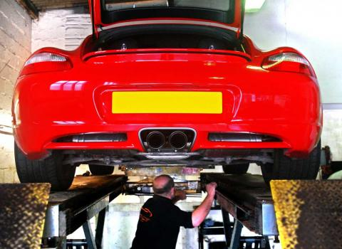 Annual MOT test of a Porsche to ensure safe road use