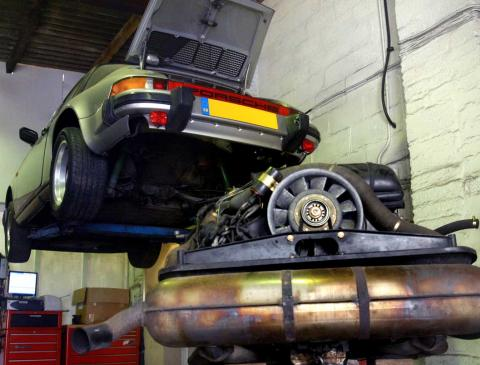 Flat six Porsche 911 engine removed for refurbishment & rebuilding