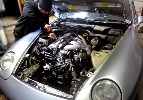 changing the spark plugs and fuel filter at Braunton Engineering Service