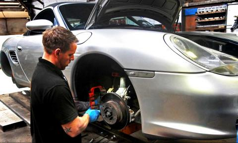 brake discs and pads service at servicing time at Braunton Engineering