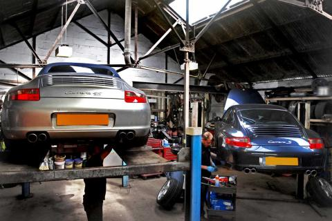 Two 911 Porsches receive maintenance work at Braunton